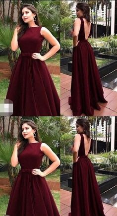 Women Burgundy Satin PromEvening Dresses With Sweep Prom Dresses