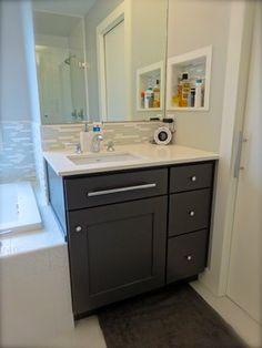 starmark peppercorn colored cabinet Bathroom Cabinetry, Cabinets, Kids Bath, Cabinet Colors, Master Bath, New Homes, Contemporary, Boys, Kitchen