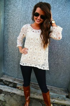 Lace Shirt. Dark skinnies. Leather boots & arm candy