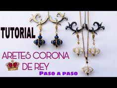 TUTORIAL DE ARETES CORONA DE REY, ARETES HERMOSOS HECHOS A MANO PARA DAMAS - YouTube Homemade Jewelry, Diy Jewelry, Beaded Jewelry, Jewelry Making, Tatting Jewelry, Earring Tutorial, Beading Tutorials, Loom Beading, Bead Earrings