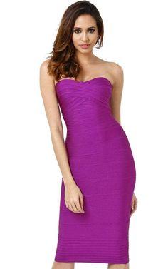 Lantana Bandage Purple Strapless Dress (L) Casual Dresses, Short Dresses, Fashion Dresses, Prom Dresses, Women's Fashion, Sexy Birthday Dress, Birthday Dresses, Purple Bandage Dress, Bandage Dresses