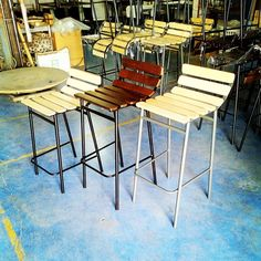 Cafe Furniture, Metal Furniture, Outdoor Furniture Sets, Outdoor Decor, Metal Stool, Metal Chairs, Stools, Greece, Table