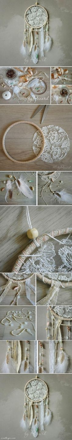Lace dream catcher...not so much interested in a dream catcher, but like the idea of using lace in embroidery hoop. Might use with tea bag art?