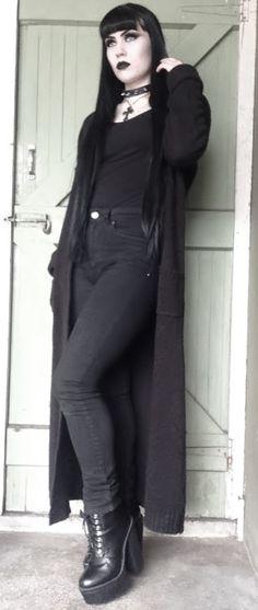 ★★★★★ five stars (black lug sole heeled boots, black faded skinny jeans, black tank top, black spike choker, black cross necklace, black long cardigan)
