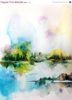 Holiday Sale Abstract Landscape Watercolor Painting Art Print 9x12 #wallart #print