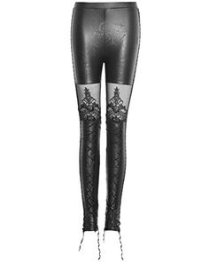 Punk Rave Women's Gothic Faux Leather Leggings Steampunk Mesh Patchwork Tights Lace Up Black Pencil Pants Faux Leather Leggings, Leather Pants, Gothic Leggings, Punk Rave, Black Pencil, Slim Pants, Maternity Wear, Soft Fabrics, Leggings Are Not Pants
