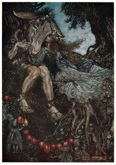 oldbookillustrations:  Sleep thou, and I will wind thee in my arms. Arthur Rackham, from A Midsummer-Night's Dream, by William Shakespeare, London, New York, 1908. (Source: archive.org)