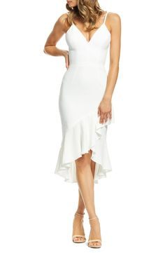 Dress the Population Wendy Ruffled Midi Dress Women - Dresses - Cocktail & Party - Bloomingdale's Shower Dress For Bride, Bridal Shower Dresses, White Bridal Shower Dress, Bridal Shower Attire, Bridal Showers, Wendy Dress, Rehearsal Dinner Outfits, Wedding Rehearsal Dress, Rehearsal Dinners
