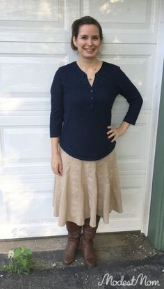 Fall relax date nite fall fashion outfit by The Modest Mom. Tips on keeping low cut shirts modest.