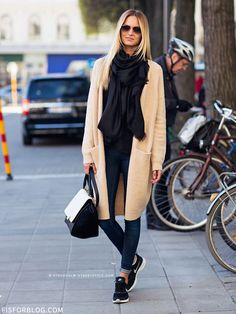 Comfy sneaks and an oversized scarf - perfect for fall.