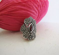 Art Deco Sterling Silver Garnet And by PortalsFromThePast on Etsy, $124.99