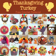Free crochet patterns for Thanksgiving turkeys, hats, amigurumi, potholders, wreaths, mug cosies and towel toppers!