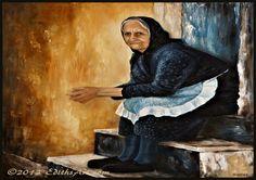 Greek Woman from Corfu by Edith van Duin-Schermer Corfu, Crete, Greek Paintings, Oil Paintings, Old Greek, Italian Village, Greek Culture, Duchess Of York, Clothes Crafts