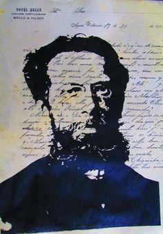 Machado de Assis. Serigrafia de Raimundo Rodriguez. Minissérie Capitu - 2008.