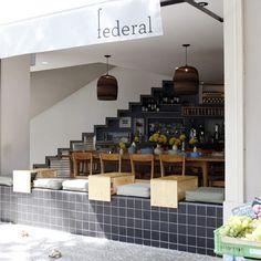 Great restaurant name (The outdoor seating at Federal Café in Barcelona. Restaurant Bar, Restaurant Design, Modern Restaurant, Cafe Interior Design, Cafe Design, Interior Shop, Café Exterior, Cafe Seating, Design Café