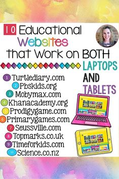 If you have a mixed tech classroom like mine then you will love knowing that these websites all have educational content that works on both a laptop and tablet! Learning Websites For Kids, Teaching Kids, Teaching Resources, Learning Activities, Preschool Websites, Teacher Websites, Learning Sites, Elementary Teaching, Teacher Tips