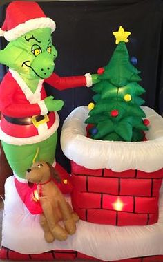 the grinch 6 ft animated airblown outdoor inflatable christmas lawn decor