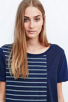 BDG Stephanie Stripe Tee Dress in Blue - Urban Outfitters