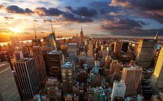 landscape, Cityscape, Building, Sunset, USA, New York City ...