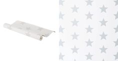 Wipe-clean Wallpaper - White, Grey Star
