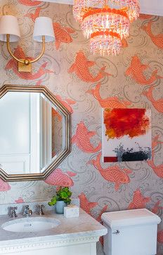 Wallcovering By Osborne Little Not Your Typical Minnesota Fish Powder Room Wallpaperbathroom