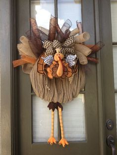 Adorable Deco mesh turkey wreath!