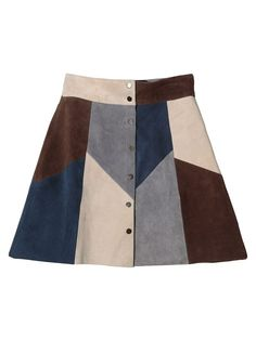 Color Block High Waist Faux Suede Button Up A-line Mini Skirt | Choies