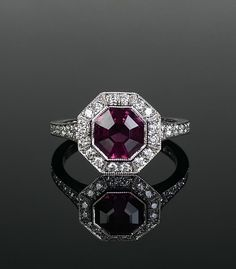 Platinum mounted diamond and garnet 1920's style millegrain cluster ring.Central garnet cut in-house. Made in Chichester, England. Chichester England, Cluster Ring, Pink Sapphire, Red And Pink, Garnet, Bespoke, Heart Ring, Shades, Jewellery