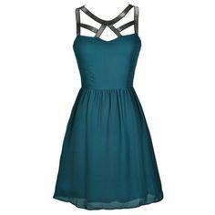 Teal Party Dress, Teal Cocktail Dress, Teal A-Line Dress, Beaded Teal Dress, Teal Cutout Neckline Dress, Jade Party Dress, Green Beaded Dress, Green A-Line Party Dress
