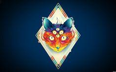 Abstract Eyes Cats Illustrations Romania Matei Apostolescu Rhombus - cats, apostolescu, abstract, eyes, illustrations, romania, matei, rhombus, trippy