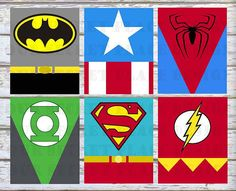PRINTABLE Superhero Wall Art Decor Nursery Room Superman Green Lantern Flash Batman Captain America Spiderman Wonder Woman Supegirl Batgirl