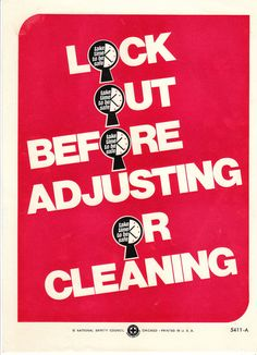 Vintage National Safety Poster - Lock Out Cleaning