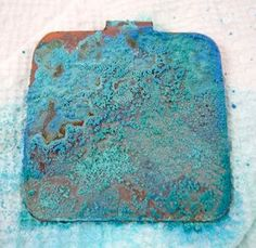 How to Create an Aged Verdigris Patina on Copper - using vinegar and salt - via Jewelry Making Journal