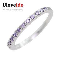 Bodas de plata anillos de plata para las mujeres de la vendimia púrpura rojo cubic zirconia anillo de compromiso joyería de la estrella 20% de descuento uloveido j029