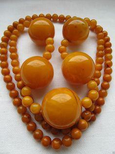 Antique 100% Natural 160g Butterscotch Egg Yolk Amber HUGE Beads Necklace!!!