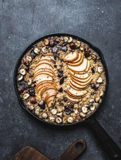 This indulgent-looking baked pear, hazelnut and chocolate oatmeal concoction is health-ified with quinoa and chia seeds.
