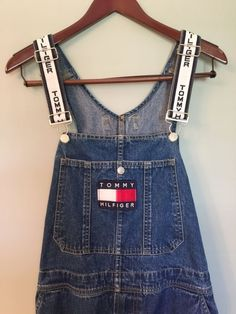 Vintage 90's Tommy Hilfiger denim carpenter overalls white straps with logo big…