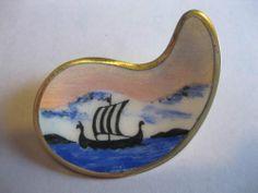 Karl Rasmussen Sterling Enamel Viking SHIP Pin Brooch Norway 925 s Silver | eBay