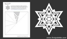 Paper snowflake template 8  - free printable                                                                                                                                                                                 More