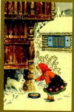 Christmas Postcards, Christmas Images, Simple Christmas, Dahl, Scandinavian Christmas, Vintage Postcards, Norway, Holiday Cards, Eggs