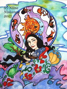 Sea princess Ningyo Japanese Mythology Fantasy Art Watercolor Acrylics Painting