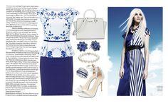 """White and Blue Dressy Look"" by loveselena22 ❤ liked on Polyvore featuring Manon Baptiste, Hobbs, Michael Kors, Nina, TARA Pearls and Effy Jewelry"