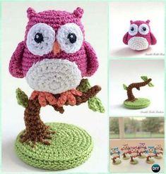 Ganchillo del búho en un árbol libre del patrón Patrones-Crochet Amigurumi Owl gratis