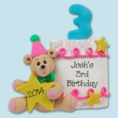 PERSONALIZED 3rd BIRTHDAY Cake by PersonalizedOrnament on Etsy