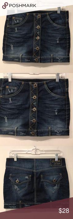 Guess Distressed Dark Wash Denim Jean Mini Skirt EUC. Button   Zip close.  Upside 4b6286970
