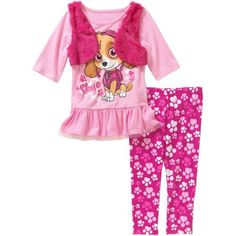 Paw Patrol Baby Toddler Girl 2-Fer Tunic and Leggings Outfit Set - Walmart.com