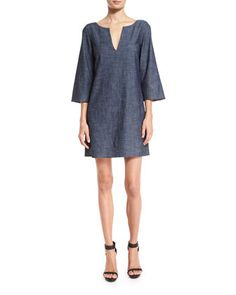 Lowell+V-neck+Chambray+Dress+by+Alice+++Olivia+at+Neiman+Marcus.