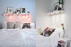 Ideia para ganhar alguns centímetros na sala: substituir o criado mudo por uma prateleira, e empurrar a cama e o guarda roupa.