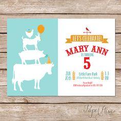 Farm Animals Birthday Invitations Barnyard Party Invitation Printable Printed Card