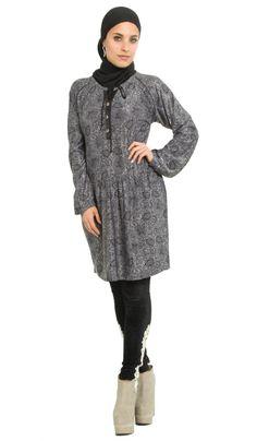 Love this Paisley Print Jersey Black and Gray Long Tunic Dress | Islamic Clothing at Artizara.com